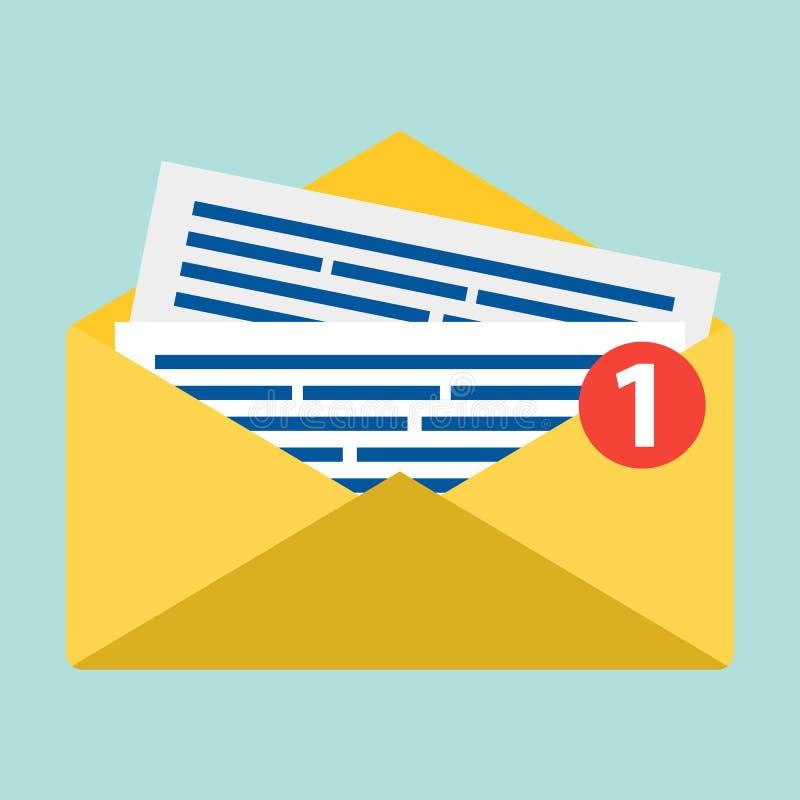 Концепция значка уведомления электронной почты Письмо в желтой крышке Плоский дизайн, вектор Символ электронной почты на голубой  иллюстрация вектора