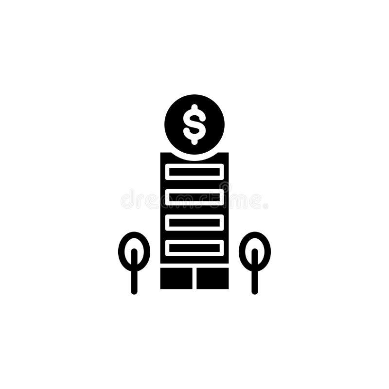 Концепция значка финансового учреждения черная Символ вектора финансового учреждения плоский, знак, иллюстрация иллюстрация вектора