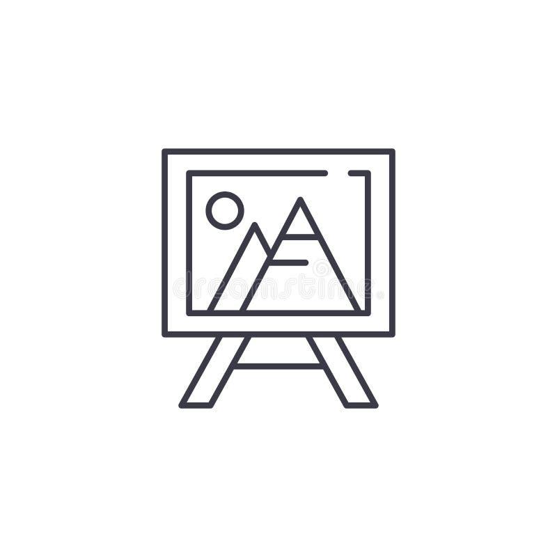 Концепция значка холста картины линейная Линия знак холста картины вектора, символ, иллюстрация иллюстрация вектора