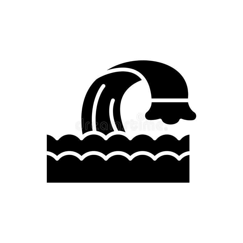 Концепция значка черноты тела воды Намочите символ вектора тела плоский, знак, иллюстрацию иллюстрация вектора