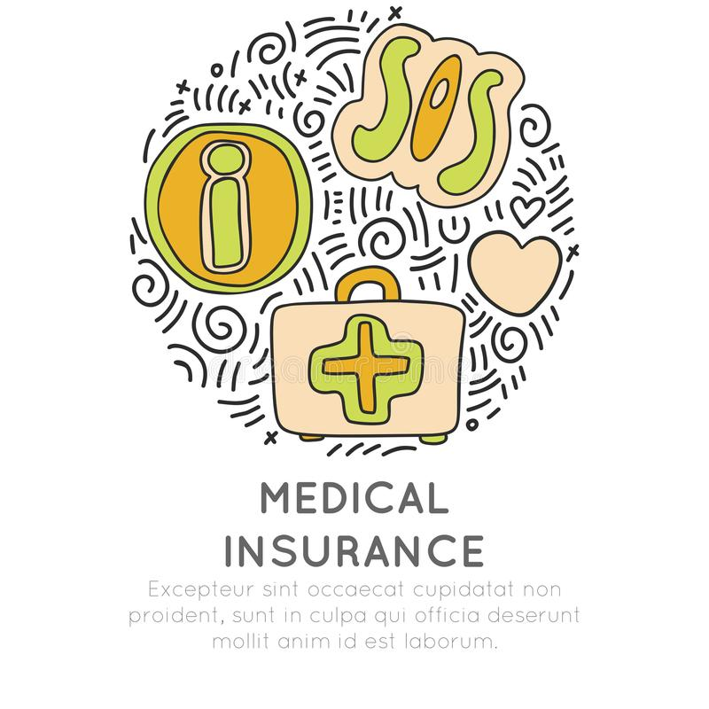 Концепция значка шаржа притяжки руки медицинского страхования Значок информации, sos и скорой помощи в круглой форме с декоративн бесплатная иллюстрация