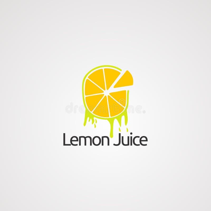 Концепция, значок, элемент, и шаблон вектора логотипа лимонного сока для компании бесплатная иллюстрация