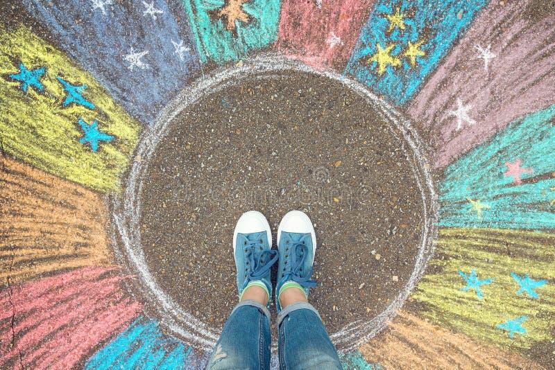 Концепция зоны комфорта Ноги стоя внутренний круг зоны комфорта стоковые изображения
