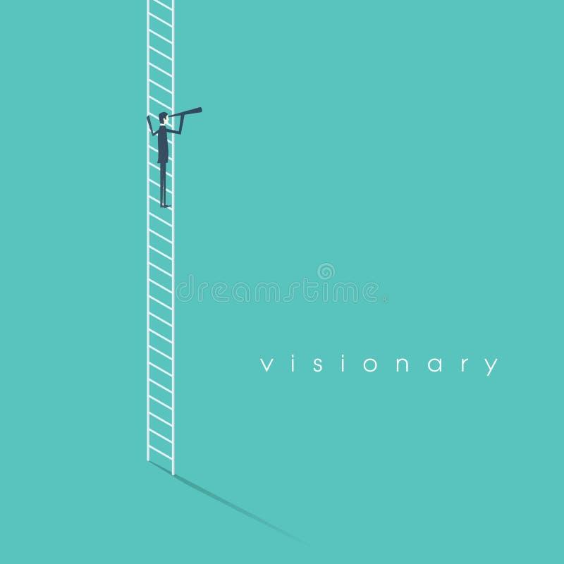 Концепция зрения дела при символ вектора бизнесмена стоя на лестнице смотря через monocular Стратегия и иллюстрация вектора