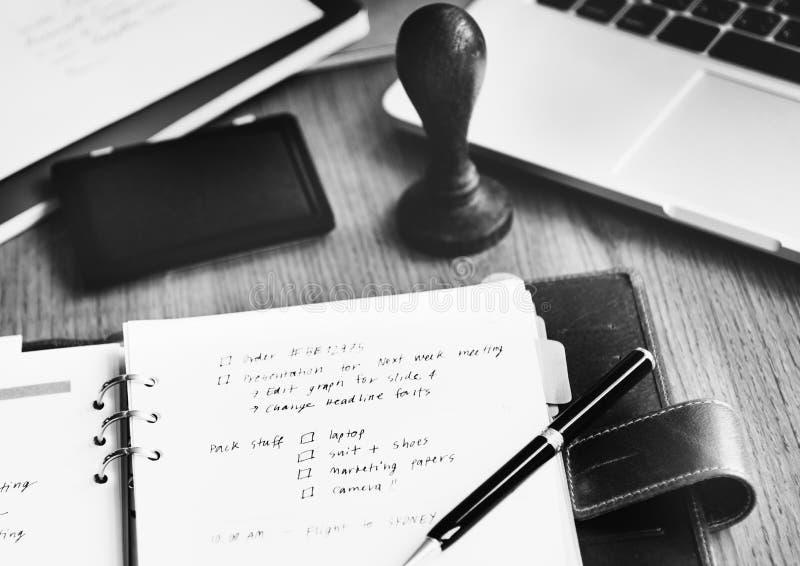 Концепция зрения тактик цели задачи суеты памятки списка стоковое изображение