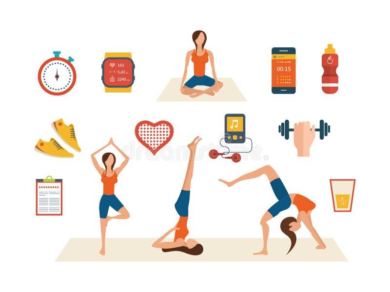 Концепция здоровых образа жизни, фитнеса и медицинского осмотра иллюстрация вектора
