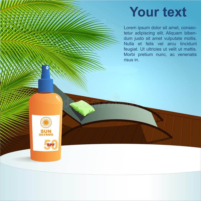 Концепция здоровья лета: бассейн и солнцезащитный крем иллюстрация штока