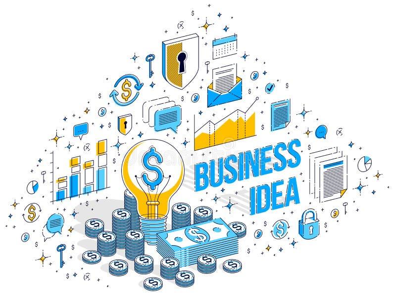 Концепция идеи дела творческая, электрическая лампочка с стогом денег наличных денег иллюстрация штока