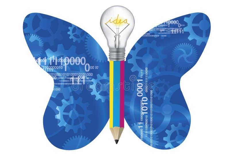 Концепция идей бабочки, технологии и дизайна иллюстрация штока