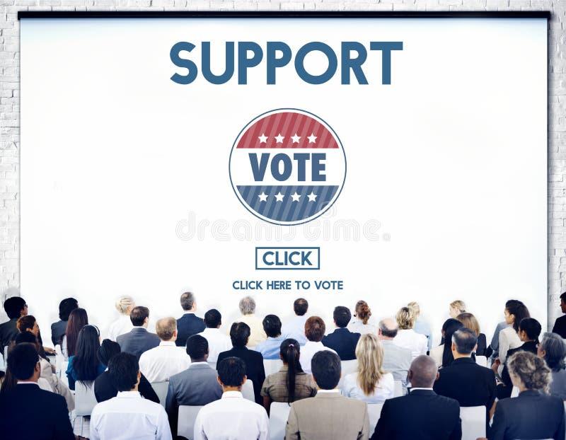 Концепция избрания голосования помощи сотрудничества поддержки стоковое изображение
