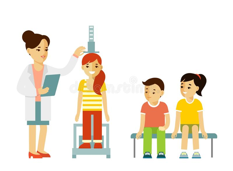 Концепция измерения высоты детей бесплатная иллюстрация