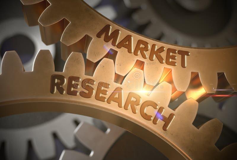 Концепция изучения рыночной конъюнктуры зацепляет золотистое иллюстрация 3d иллюстрация вектора