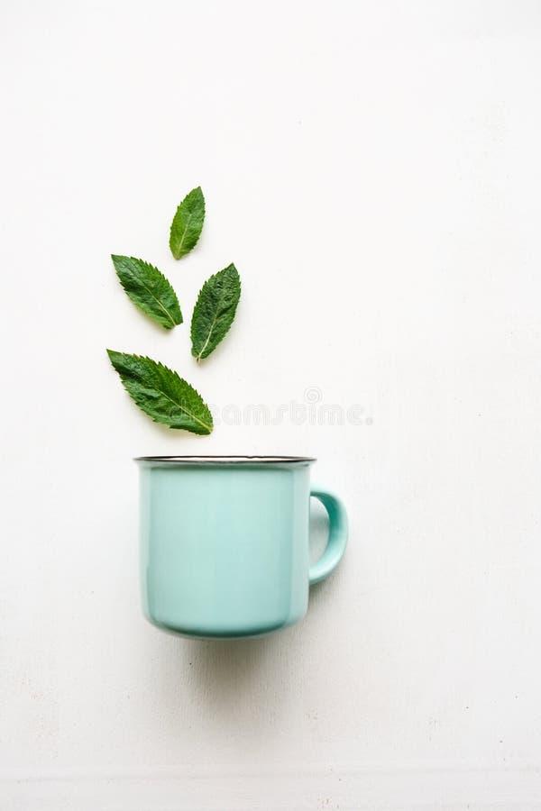 Концепция или творческая идея которая знаменует полезное питье или травяной или зеленый чай От листьев мухы кружки стоковые изображения rf