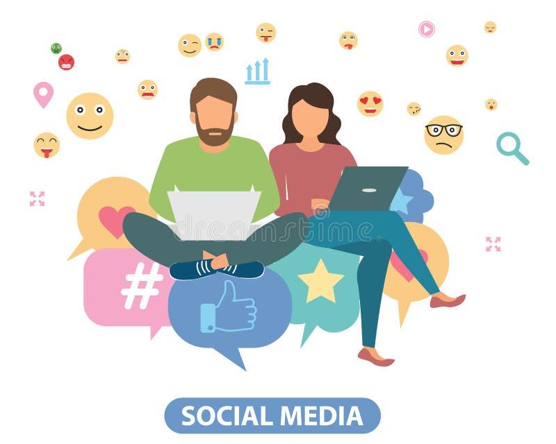 Концепция иллюстрации вектора социальных средств массовой информации Творческий плоский дизайн для знамени сети, выходя на рынок  бесплатная иллюстрация