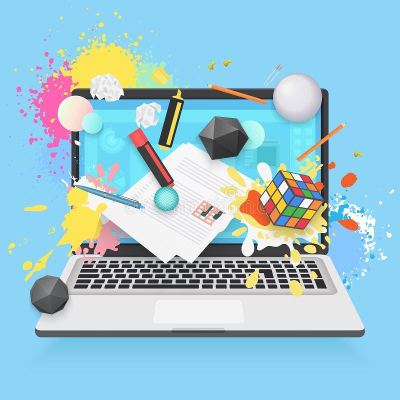 Концепция иллюстрации онлайн образования плоская Компьтер-книжка с значками и влияниями образования Различные формы, краска цвета бесплатная иллюстрация