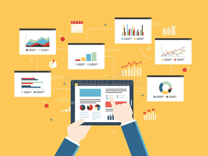 Концепция инвестиционных планов финансов, диаграммы аналитика на мобильном устройстве иллюстрация вектора