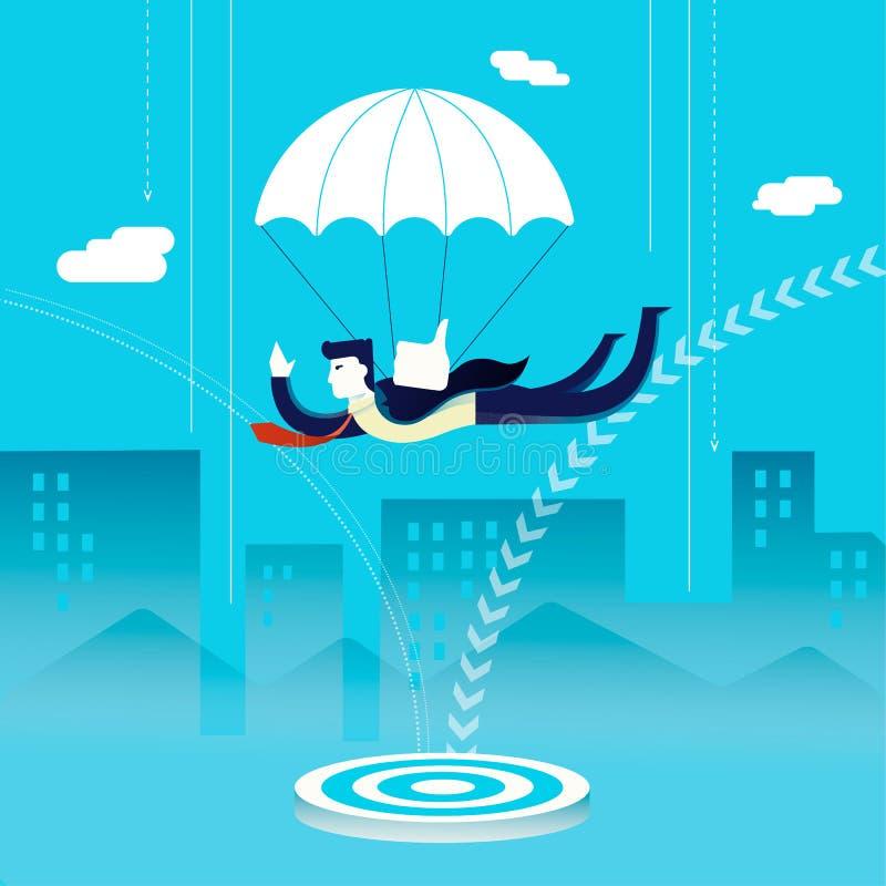 Концепция инвестора бизнесмена skydiving иллюстрация вектора