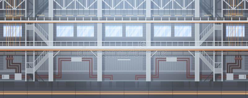 Концепция индустрии автоматизации машинного оборудования сборочного конвейера пустого транспортера фабрики автоматическая иллюстрация вектора