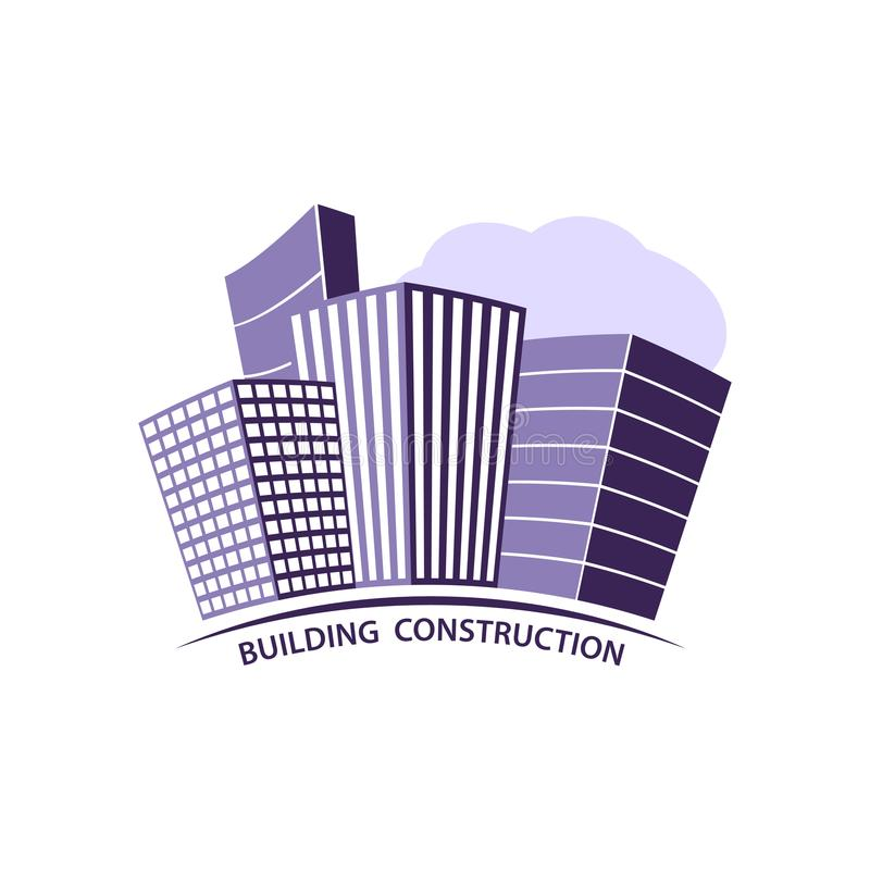 Концепция индустрии конструкции работая Логотип строительной конструкции в фиолете Силуэт построенного делового центра иллюстрация штока