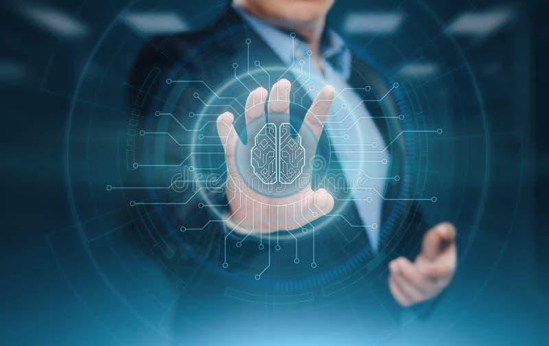 Концепция интернета технологии дела машинного обучения AI искусственного интеллекта мозга цифров стоковые фото
