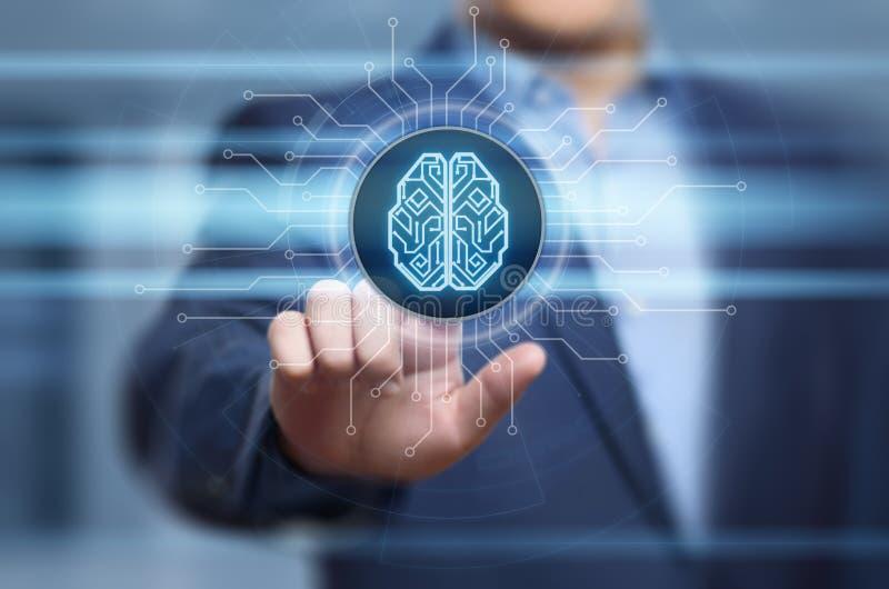 Концепция интернета технологии дела машинного обучения AI искусственного интеллекта мозга цифров стоковое фото rf
