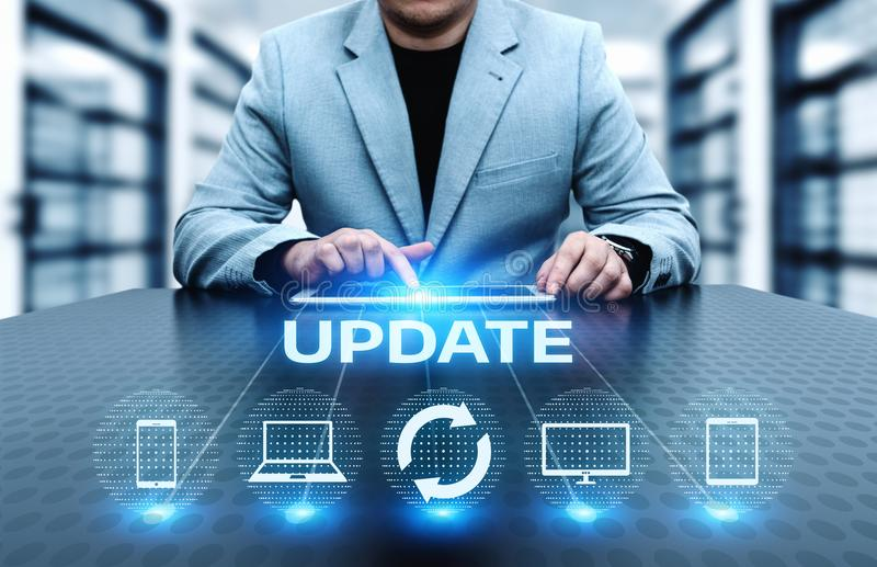 Концепция интернета технологии дела подъема компьутерной программы программного обеспечения обновления стоковые изображения