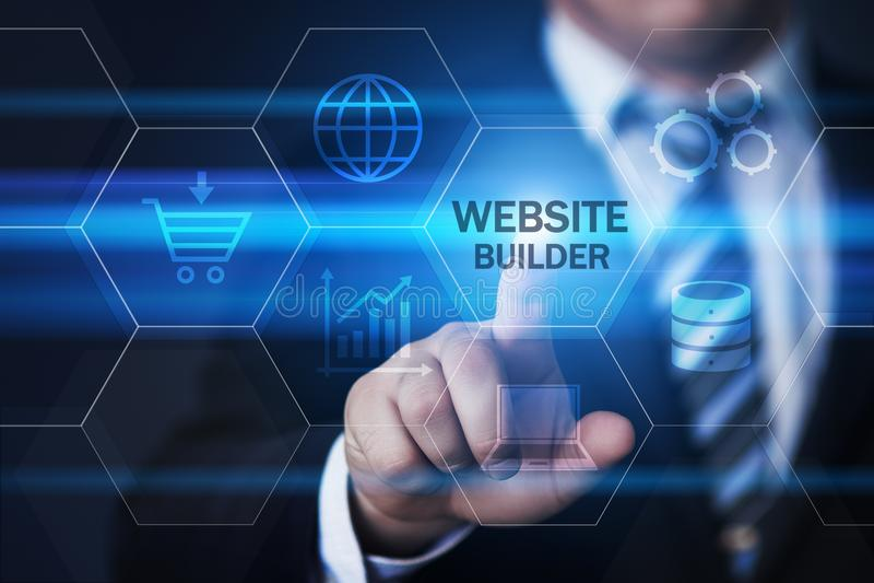 Концепция интернета технологии дела развития веб-дизайна построителя вебсайта стоковые фото