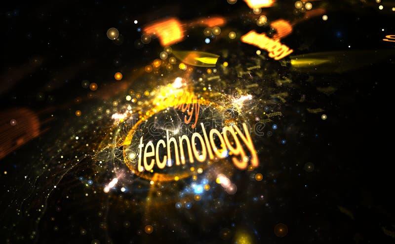 Концепция интернета - технология, цифров изображение красочного света и абстрактные формы иллюстрация вектора