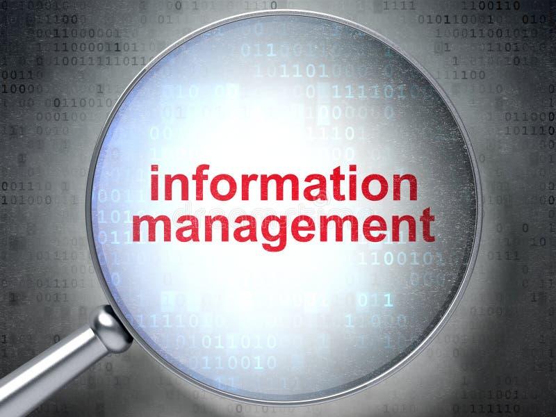 Концепция информации: Информационный менеджмент с оптически стеклом иллюстрация штока