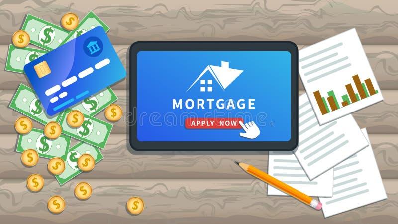 Концепция ипотечного кредита онлайн Купить недвижимость, инвестиции в недвижимость, заем на дом Плоский планшет или смартфон с ло иллюстрация вектора