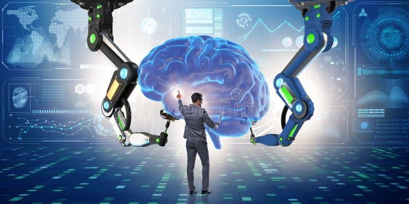 Концепция искусственного интеллекта с бизнесменом иллюстрация вектора