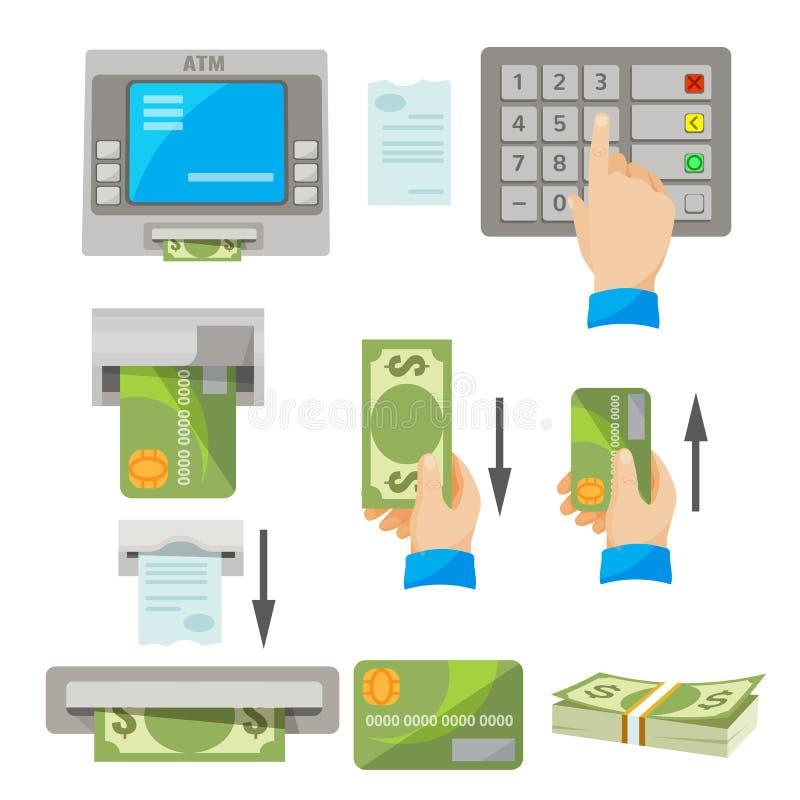 Концепция использования ATM установила с деньгами и кредитной карточкой бесплатная иллюстрация