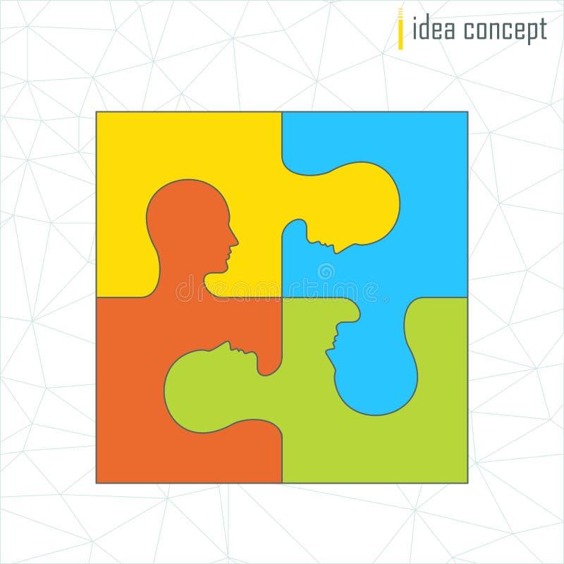 Концепция идеи головоломки профиля иллюстрация штока