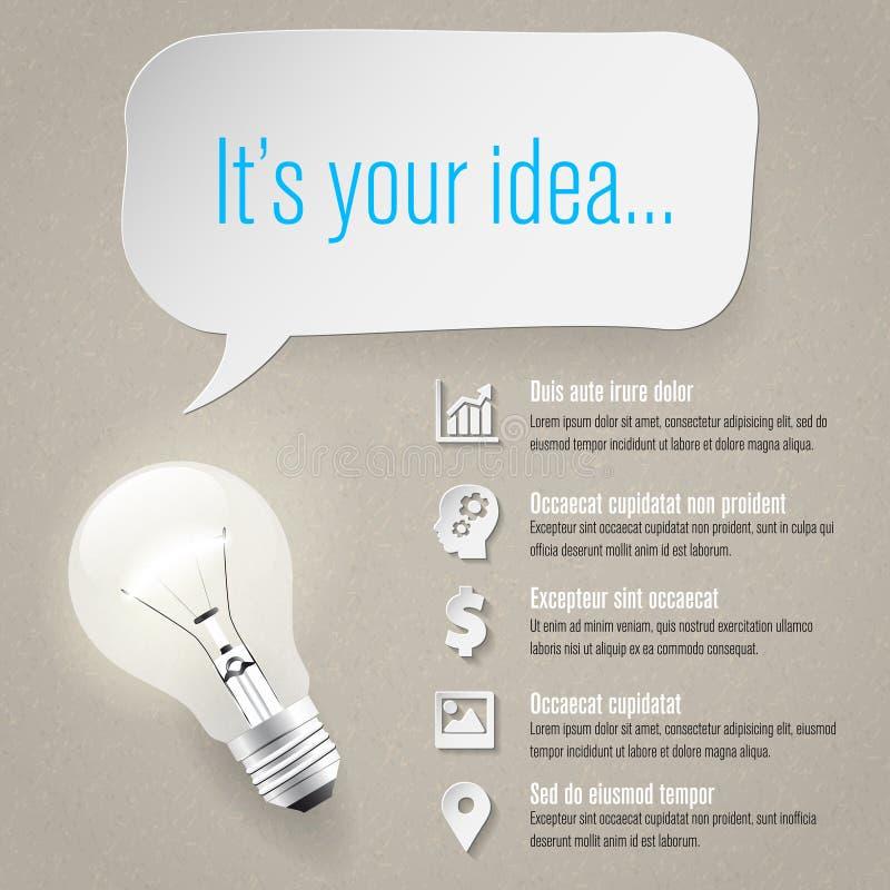 Концепция идеи - графики информации - бумажные значки - место для текста иллюстрация штока