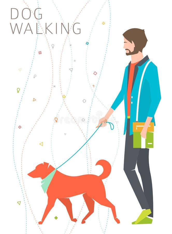 Концепция идти собаки иллюстрация вектора