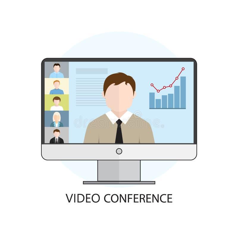 Концепция иллюстрации вектора плоского дизайна красочная для видео- confe бесплатная иллюстрация