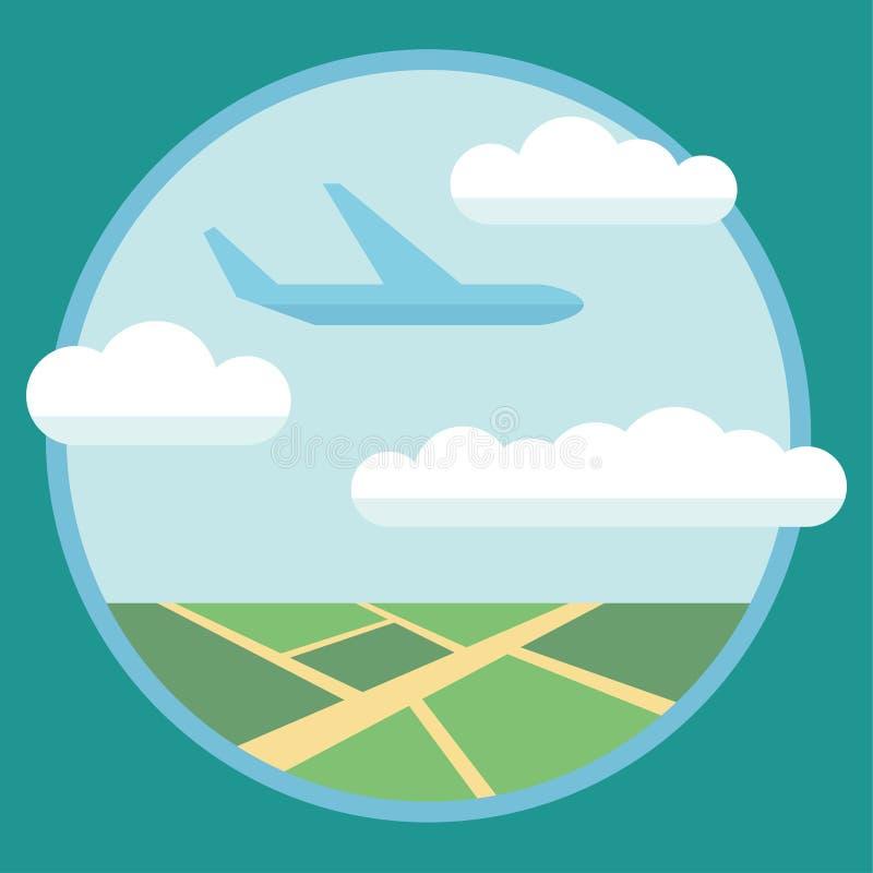 Концепция иллюстрации вектора плоского стиля дизайна современная современного детального летания самолета через облака в голубом  иллюстрация вектора