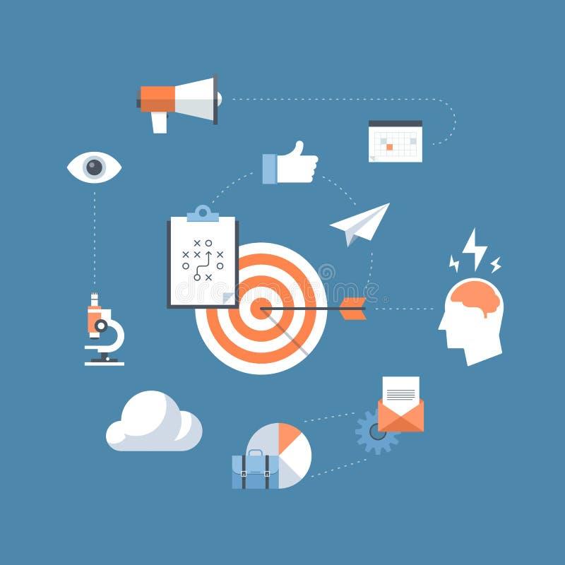 Концепция иллюстрации маркетинговой стратегии плоская иллюстрация вектора