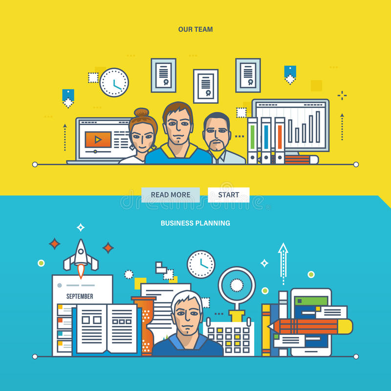 Концепция иллюстрации - планированиe бизнеса и нашей команды бесплатная иллюстрация