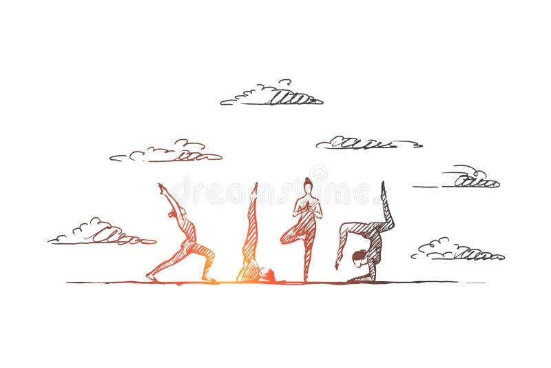Концепция йоги Вектор нарисованный рукой изолированный иллюстрация штока