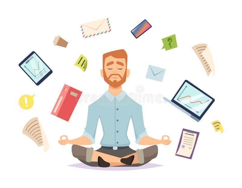 Концепция йоги дела Дзэн офиса ослабляет концентрацию на иллюстрации вектора практики йоги таблицы места для работы иллюстрация штока