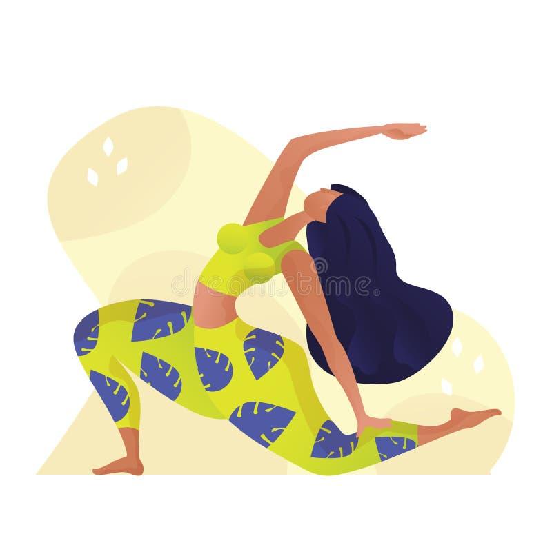 Концепция йоги молодой женщины yogi практикуя, стоя в смотреть вверх смотря на представление и носить бюстгальтер и брюки sportsw бесплатная иллюстрация