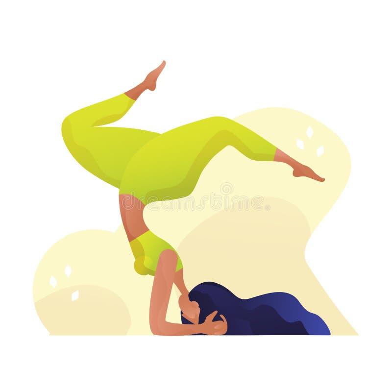 Концепция йоги молодой женщины yogi практикуя, стоя в ухудшающемся - смотреть на представление и носить бюстгальтер и брюки sport иллюстрация штока