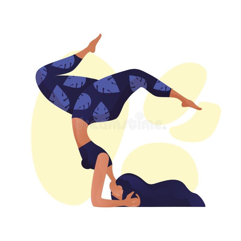Концепция йоги молодой женщины yogi практикуя, стоя в ухудшающемся - смотреть на представление и носить бюстгальтер и брюки sport бесплатная иллюстрация