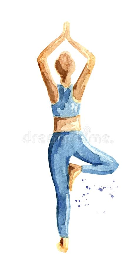 Концепция йоги Vrikshasana Представление дерева Практика женщины Иллюстрация акварели нарисованная рукой изолированная на белой п бесплатная иллюстрация