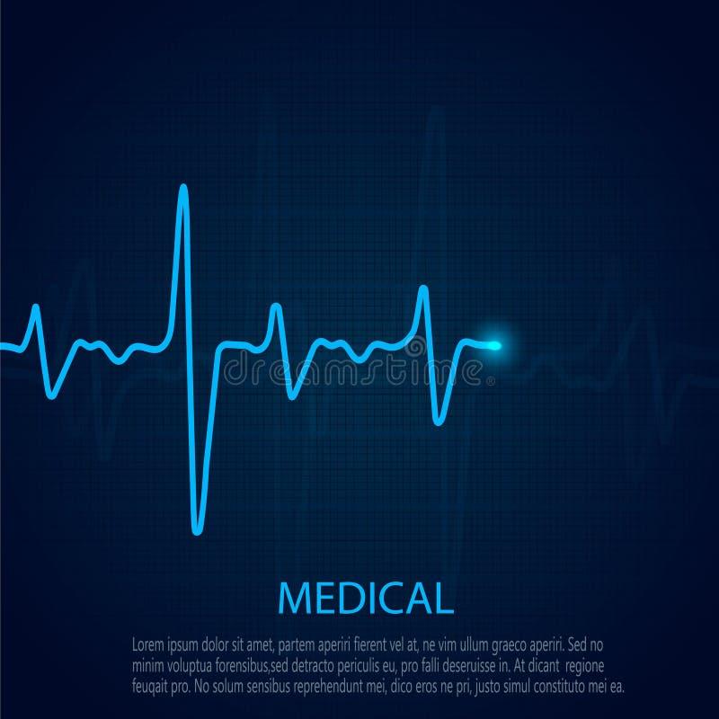 Концепция кардиологии с диаграммой частоты пульса Медицинская предпосылка с cardiogram сердца иллюстрация штока