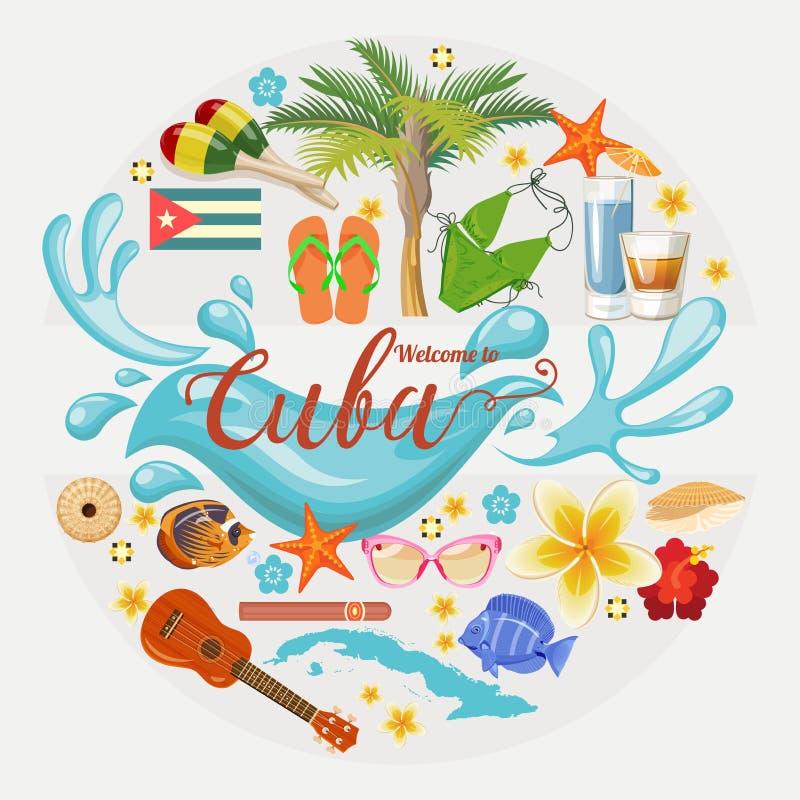 Концепция карточки перемещения Кубы красочная Добро пожаловать к изумлять Кубу форма круга Иллюстрация вектора с кубинськой культ иллюстрация штока