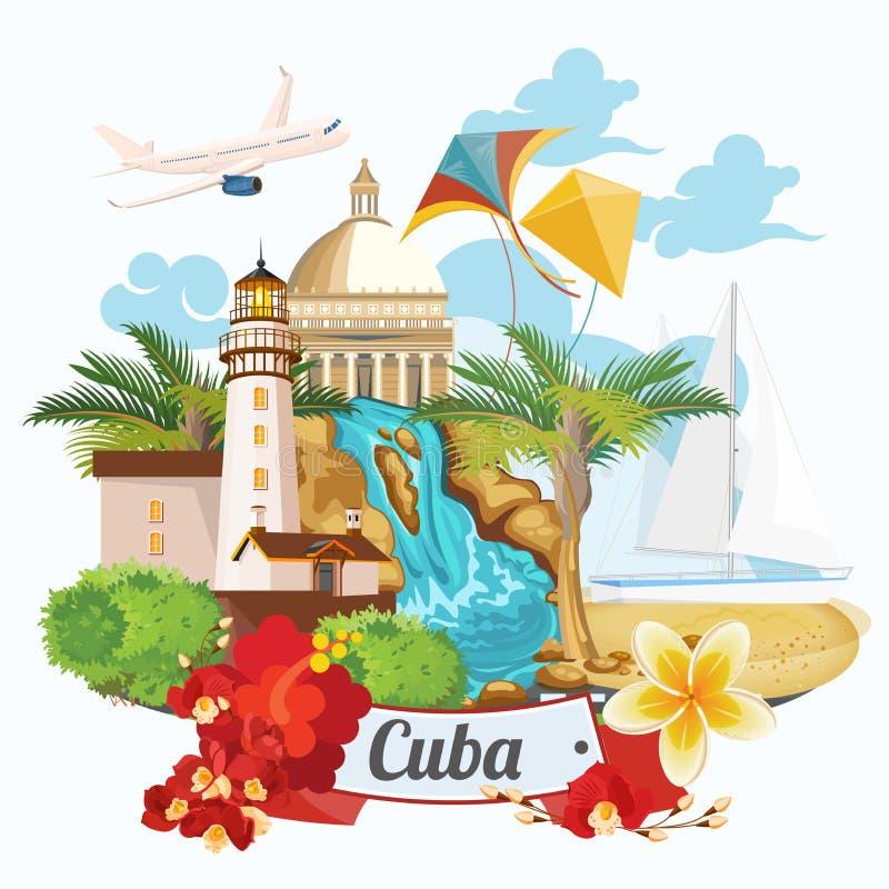 Концепция карточки перемещения Кубы красочная шаблон сбор винограда типа лилии иллюстрации красный Иллюстрация вектора с кубинськ бесплатная иллюстрация