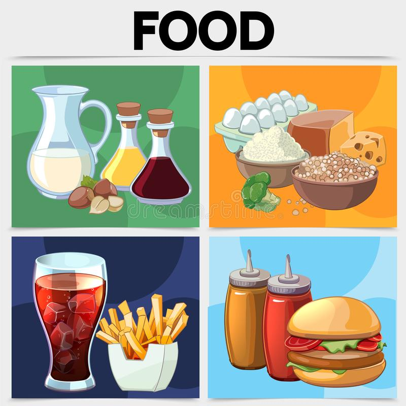 Концепция квадрата еды шаржа иллюстрация штока