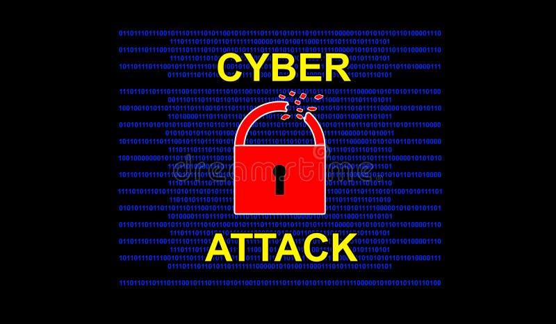 Концепция кибер атаки на черной предпосылке стоковое фото